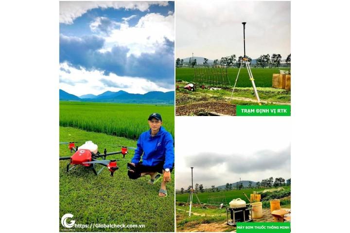 Nông dân Nghệ An phấn khởi triển khai máy bay phun thuốc Globalcheck
