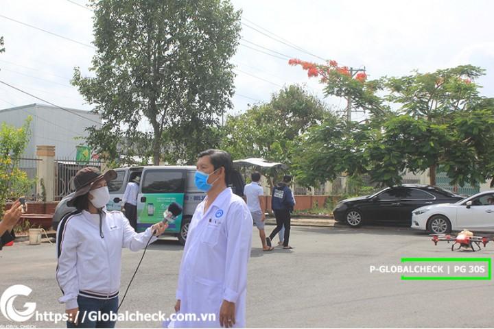 Phun thuốc khử trùng tại bệnh viện Cần thơ bằng máy bay P-Globalcheck hậu Covid 19