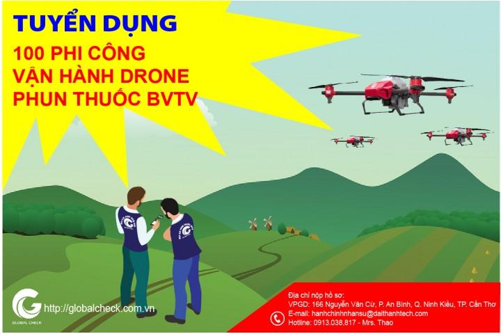 TUYỂN DỤNG PHI CÔNG VẬN HÀNH DRONE PHUN THUỐC BVTV